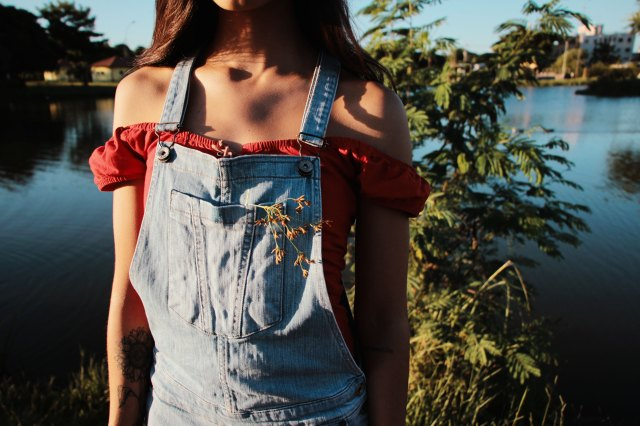 girl dungarees nature